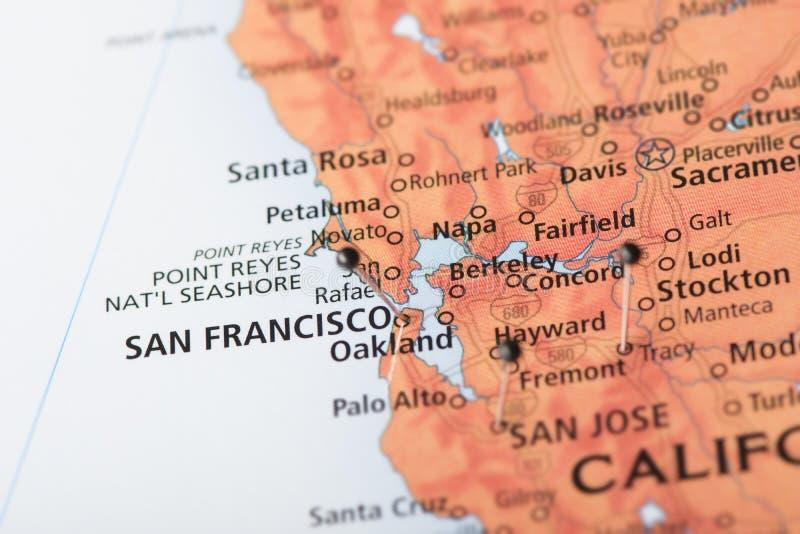 San Fransisco, California sulla mappa fotografia stock
