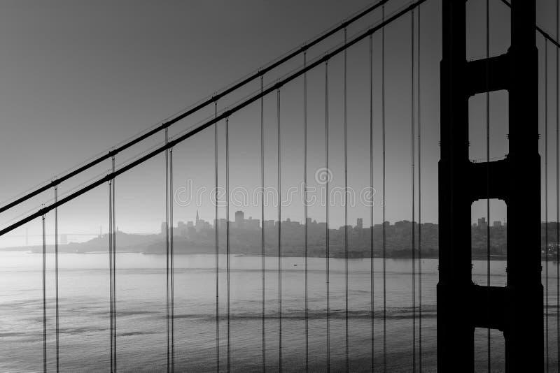 San Fransisco Golden Gate Bridge czarny i biały Kalifornia obraz royalty free