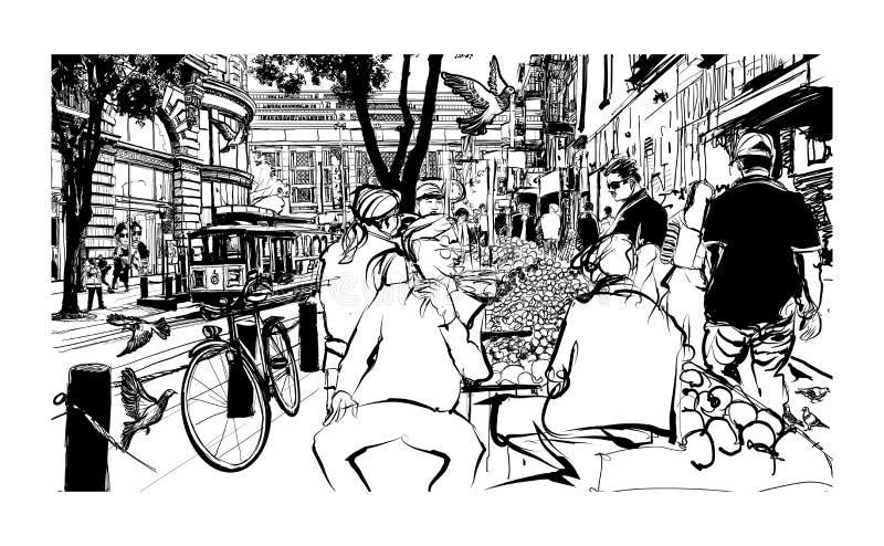 San Fransisco, historyczna ulica i tramwaj, ilustracja wektor