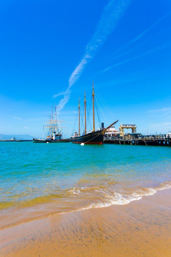 San Fransisco Hyde mola Ulicznej plaży Szeroki kąt V obrazy stock