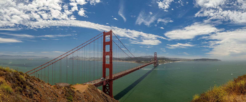 San Fransisco, Kalifornia, usa: Golden Gate Bridge, cieśnina i Krajowy Rekreacyjny teren, fotografia royalty free
