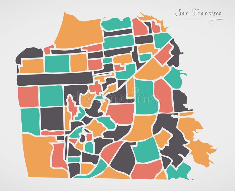 San Fransisco mapa z sąsiedztwami i nowożytnymi round kształtami ilustracji