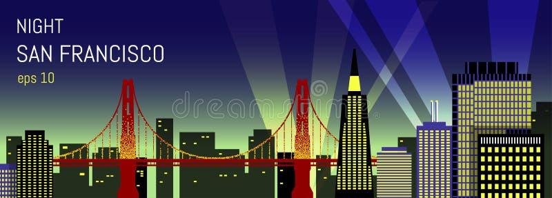 San Fransisco mieszkania ilustracja cumujący noc portu statku widok royalty ilustracja