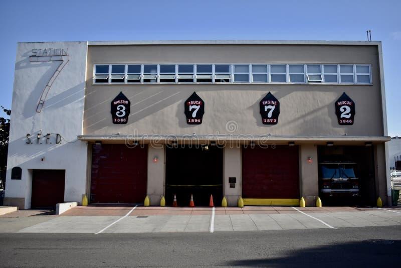 San Fransisco Pożarniczego działu stacja 7 i stażowy centrum, 1 obrazy royalty free