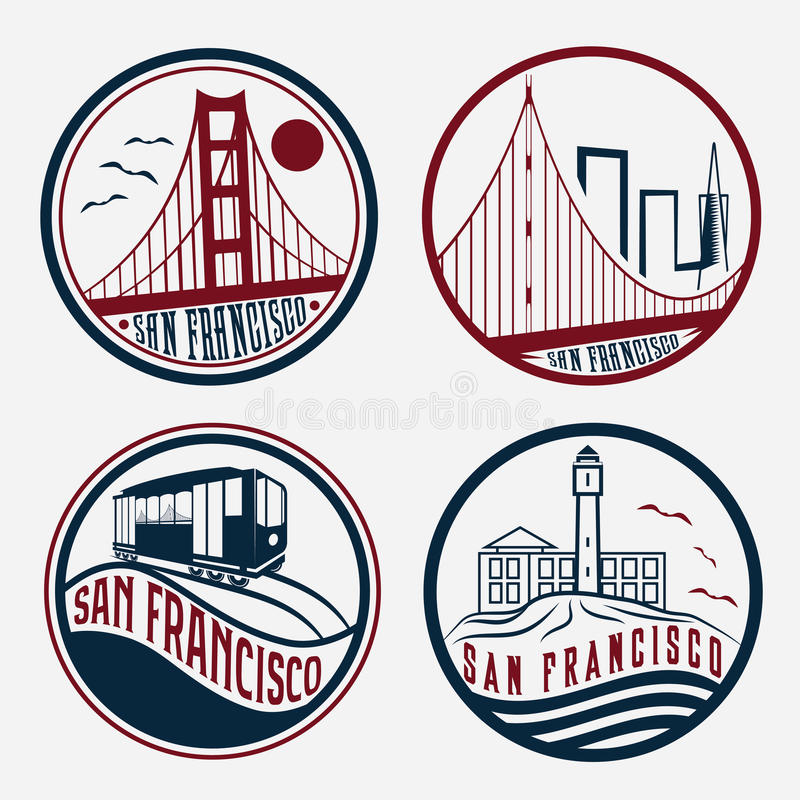 San Fransisco rocznika etykietki ustawiać ilustracja wektor