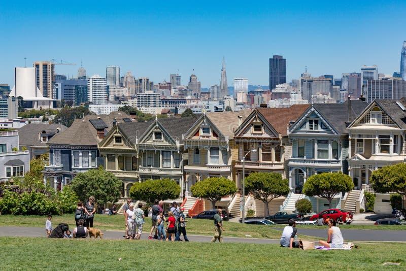 San Fransisco usa Malować damy w San Francja - Lipiec 17, 2017 - zdjęcia royalty free