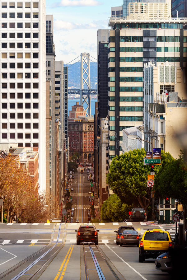 San Fransisco w centrum widok od wagonu kolei linowej zdjęcie royalty free