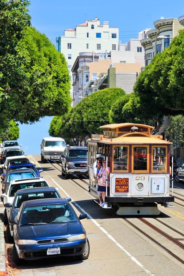 San Fransisco wagonu kolei linowej 23 rosjanina wzgórze zdjęcie royalty free