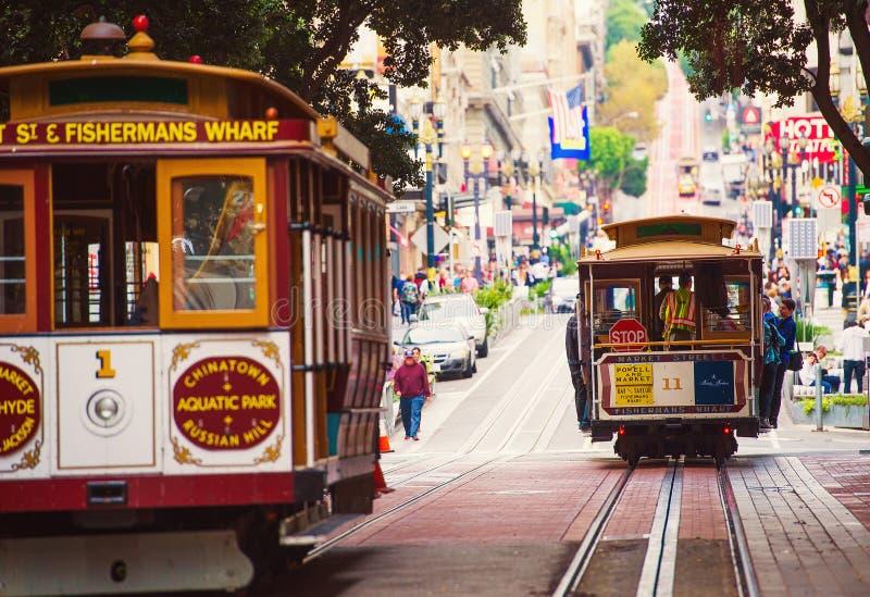 San Fransisco wagony kolei linowej zdjęcia royalty free