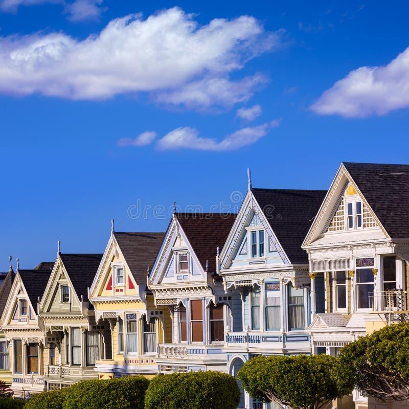 San Fransisco Wiktoriańscy domy w Alamo kwadracie Kalifornia zdjęcia stock