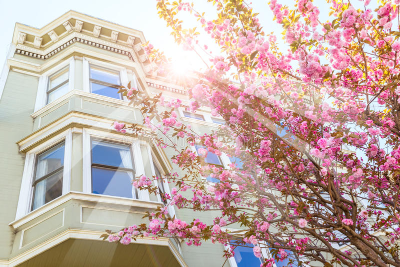 San Fransisco wiktoriański mieści Kalifornia obrazy stock