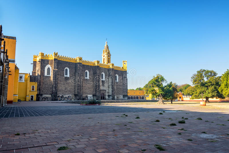 San Gabriel Convent in Cholula, Mexico. View of the impressive convent of San Gabriel in Cholula, Mexico royalty free stock photos