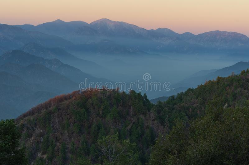 San Gabriel Mountains in Southern California. Nature background,  the San Gabriel Mountains in Southern California. This area includes the Angeles National stock photography