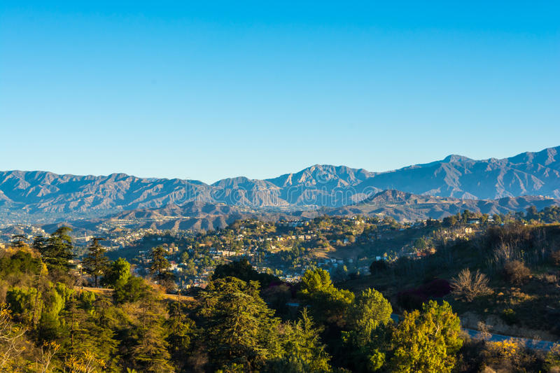 San Gabriel Mountains 2. View of the San Gabriel Mountains from Elysian Park stock photography