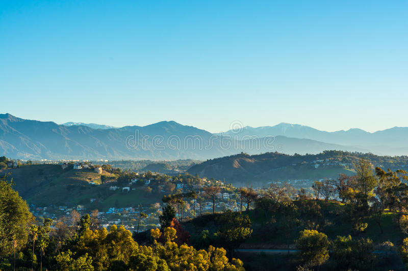 San Gabriel Mountains 4. View of the San Gabriel Mountains from Elysian Park stock photography