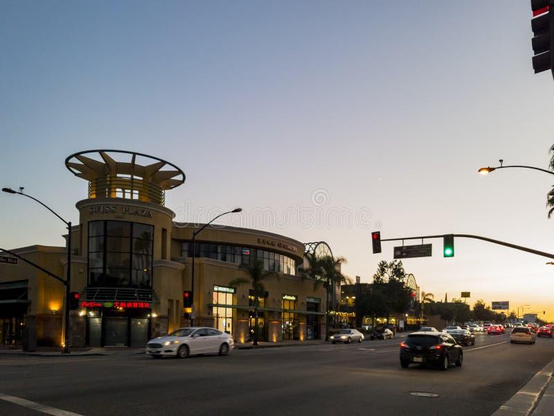 San Gabriel Square. San Gabriel, SEP 25: Valley Blvd near the famous plaza - San Gabriel Square on SEP 25, 2017 at Los Angeles, California stock image
