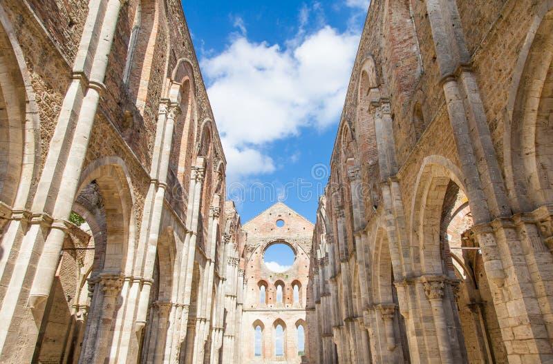 San Galgano Abbey. Italy, Tuscany region. Medieval San Galgano Abbey stock images