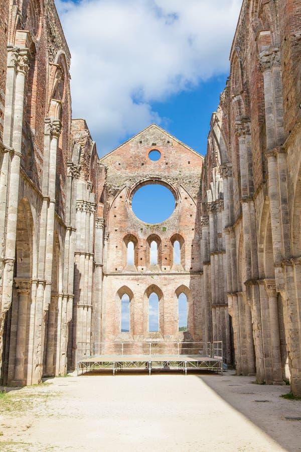 San Galgano Abbey. Italy, Tuscany region. Medieval San Galgano Abbey royalty free stock images