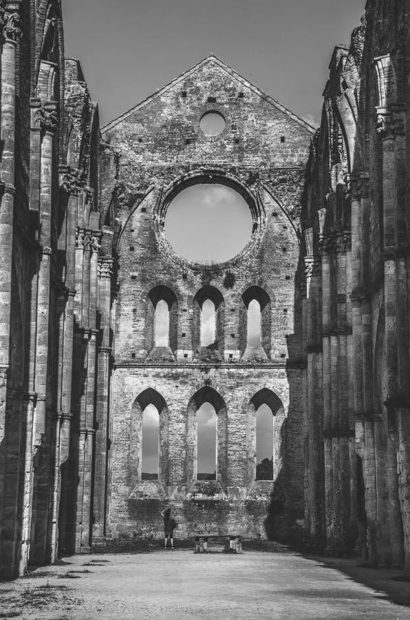 San Galgano Church ruins in Siena (Tuscany - Italy). Ruins of San Galgano Church in Tuscany from inside stock photography