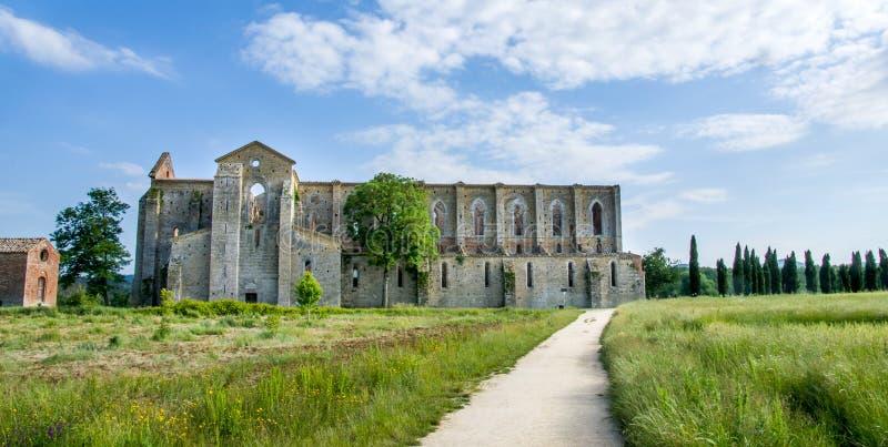 San Galgano Church ruins in Siena (Tuscany - Italy). Ruins of San Galgano Church in Tuscany from ouside royalty free stock photography