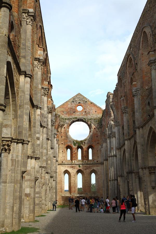 San Galgano, Siena Italy. church without a roof and sword inside the rock stock photography