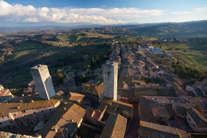 San Gimignano. Aerial view of the medieval village San Gimignano in Tuscany, Italy stock photo