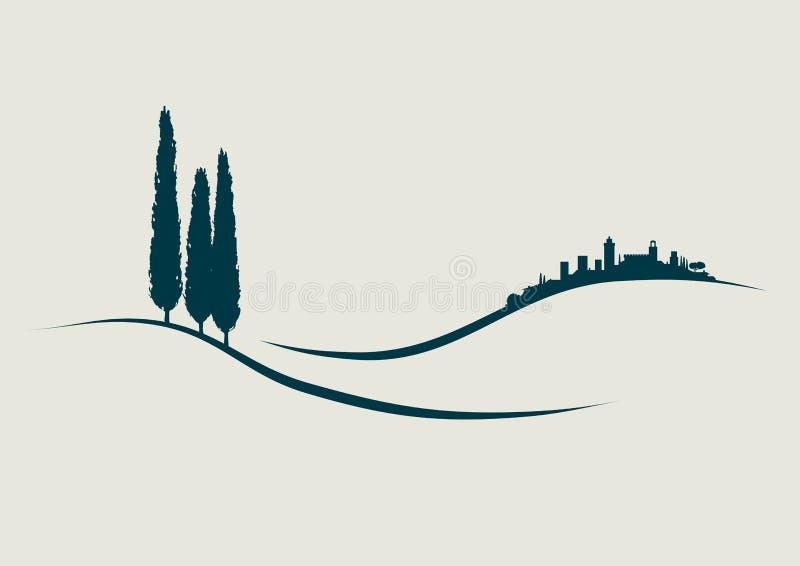 San Gimignano stock de ilustración