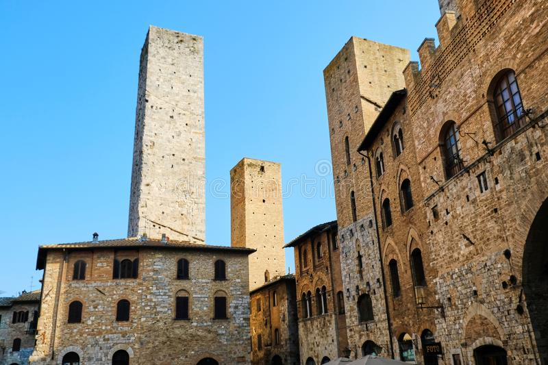 San Gimignano Italy. Ancient Italian medieval village located in Tuscany famous for its towers royalty free stock photos