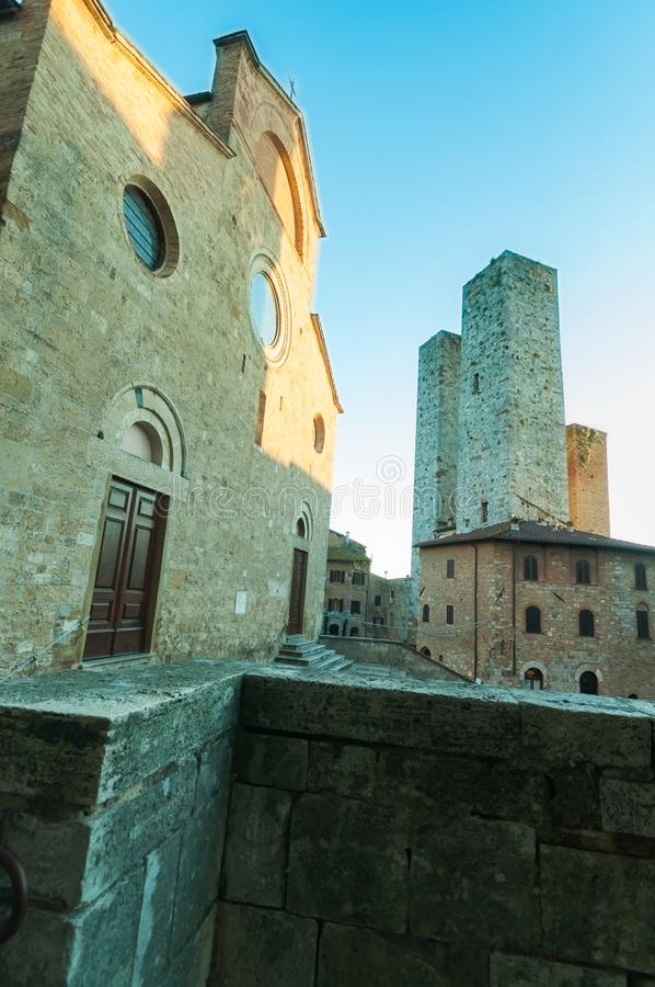 San Gimignano, medieval city with well and towers stock photography
