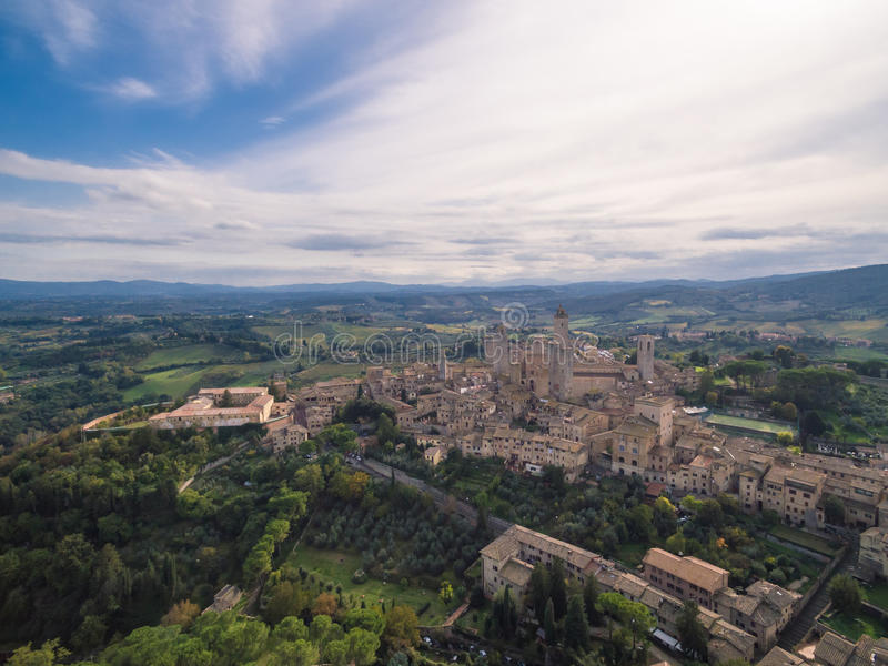 San Gimignano, Italy, aerial view. San Gimignano castel, Italy, aerial view royalty free stock photo