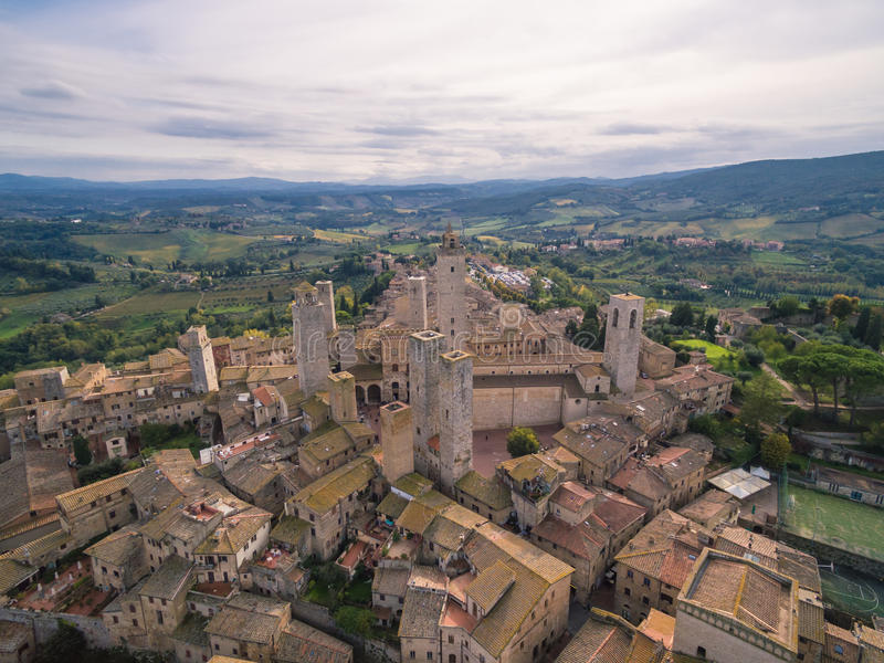 San Gimignano, Italy, aerial view. San Gimignano castel, Italy, aerial view royalty free stock image