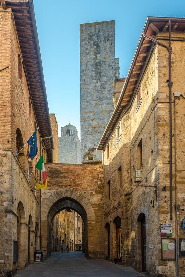 SAN GIMIGNANO,ITALY - SEPTEMBER 21,2018 - In the streets of San Gimignano.San Gimignano is a small walled medieval hill town in. The province of Siena in royalty free stock photo