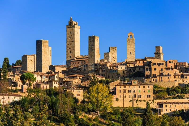 San Gimignano, Italy. San Gimignano at sunrise, Tuscany, Italy stock photo