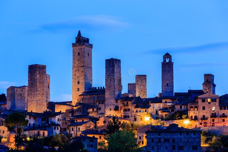 San Gimignano, Italy. San Gimignano at twilight, Tuscany, Italy royalty free stock photography