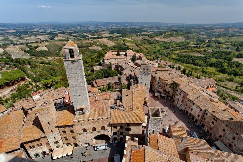 San Gimignano ` Manhattan średniowieczny `, Tuscany, Włochy - widok Stary miasteczko, góruje, della Cisterna, piazza Del Duomo i  obrazy stock