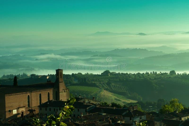 San Gimignano, the medieval cobblestones stock photo