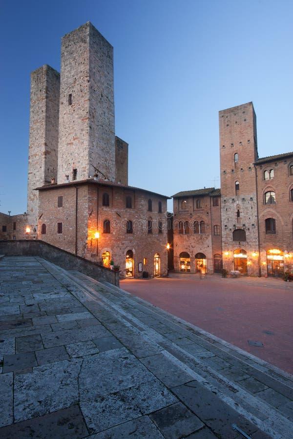 San Gimignano by night. San Gimignano medieval town in Tuscany, Italy stock photo