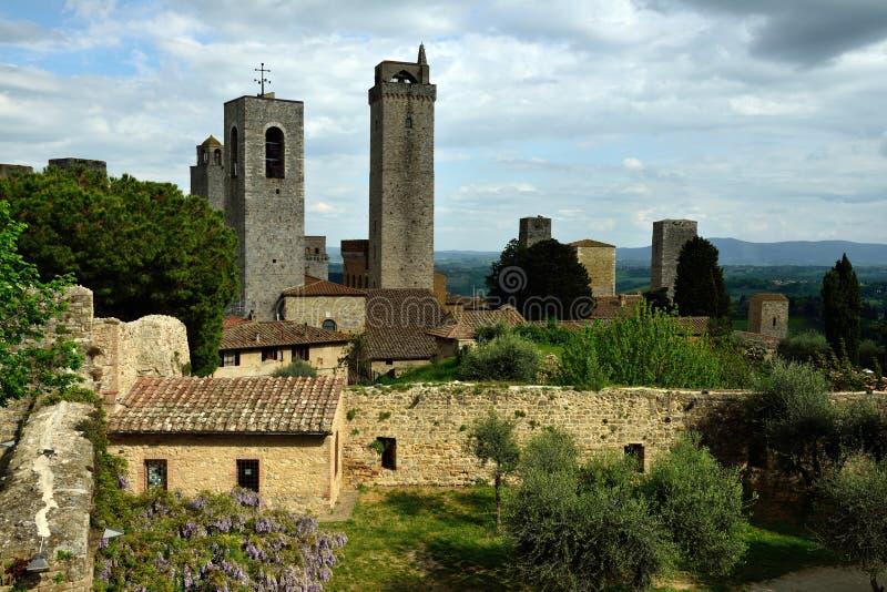 San Gimignano Parco della Rocca, Tuscany, Italien arkivbild