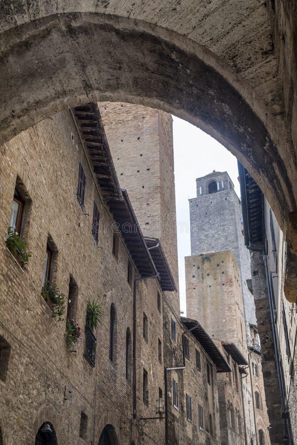 San Gimignano, Siena, na manhã fotografia de stock