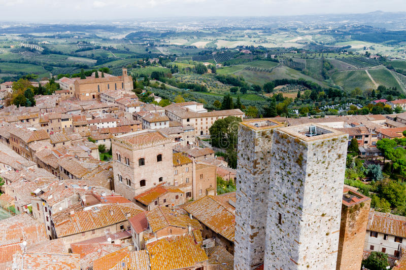 San Gimignano is a small walled medieval hill town in Tuscany. San Gimignano is a small walled medieval hill town in the province of Siena, Tuscany, Italy. Known royalty free stock image