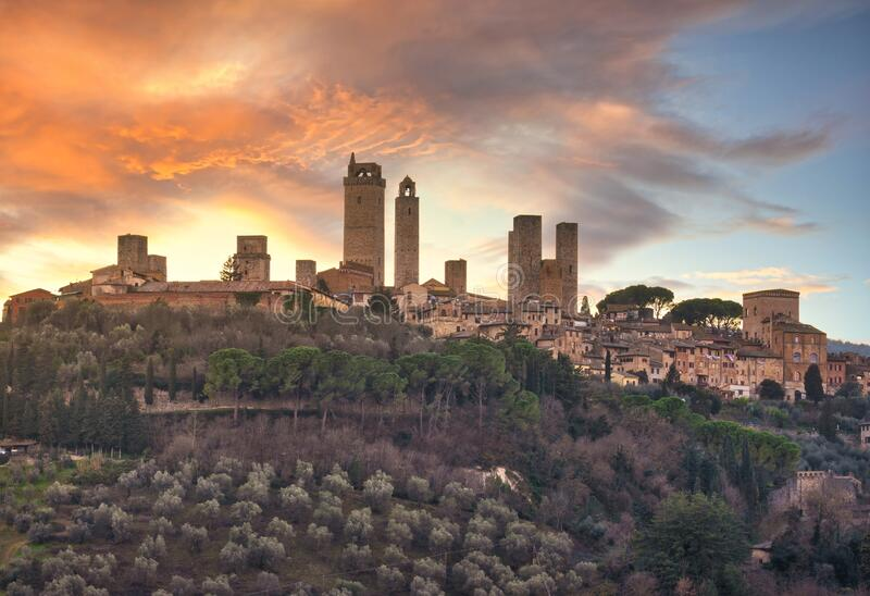 San Gimignano town skyline and medieval towers at sunset. Tuscany, Italy. San Gimignano town skyline and medieval towers at sunset. Italian olive trees in stock photos