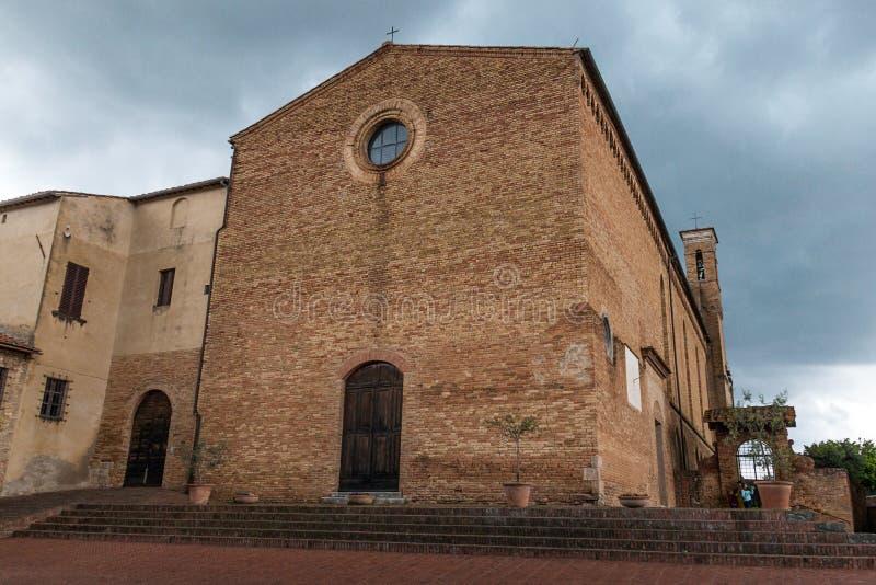 San Gimignano. The church of SantAgostino in San Gimignano royalty free stock image