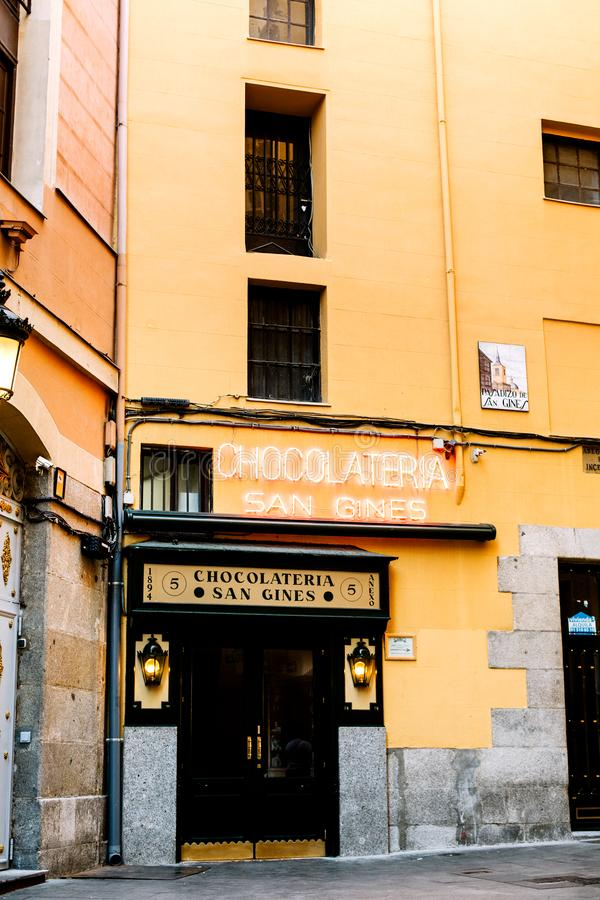San Gines Chocolateria in Madrid, Spanje royalty-vrije stock afbeeldingen