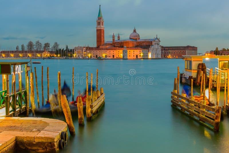 San Giorgio Maggiore Church bij schemer, Venetië, Italië stock foto