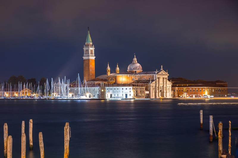 San Giorgio Maggiore Church on the island of Venice at night, Italy. Cityscape, boat, cathedral, daylight, travelling, harbor, harbour, marina, water, italian stock images