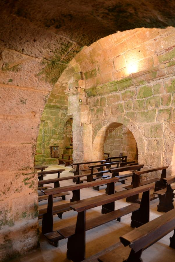 Old stone romanesque church architecture in Sardinia, Italy. San Giovanni di Sinis old church interior. Romanesque stone architecture, in Sardinia, Italy stock photos