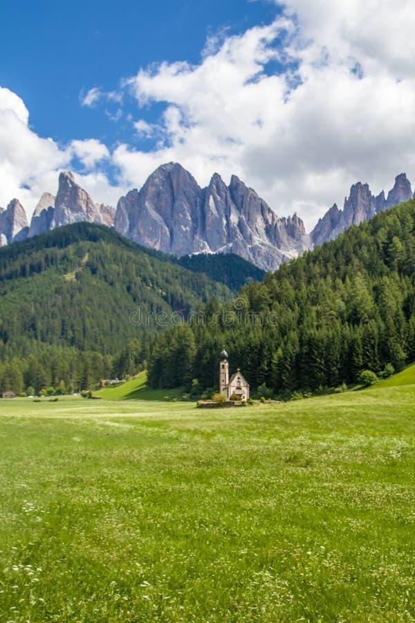 San Giovanni or St Johann in Ranui chapel, Funes Valley, Dolomites Alps. Italy stock photography