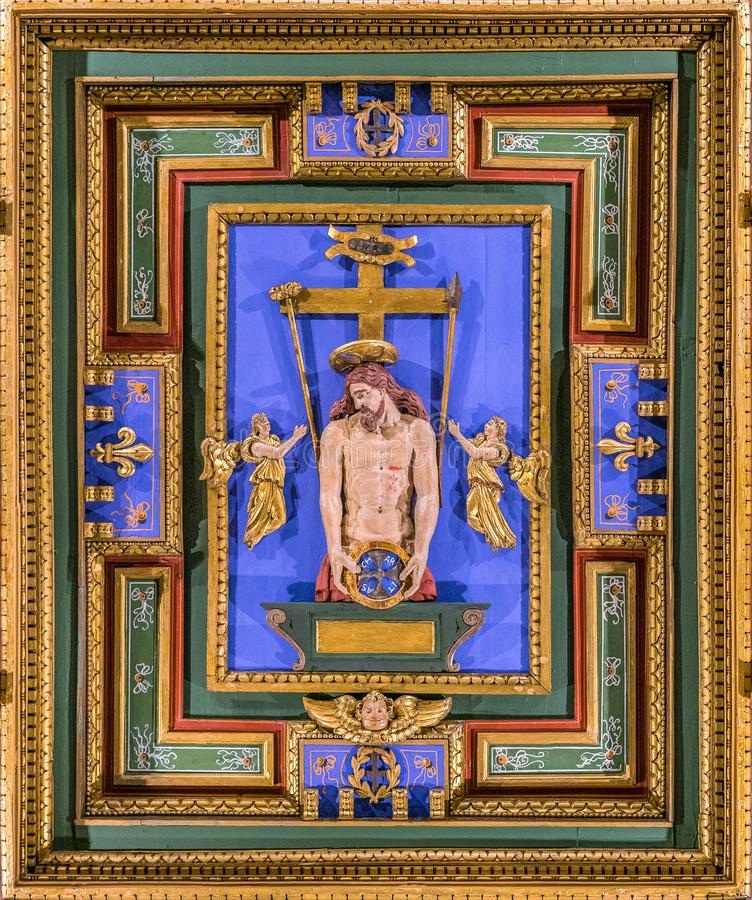 `Ecce Homo` carved panel in the Church of San Girolamo della Carità in Rome, Italy. San Girolamo della Carità is a church in Rome, Italy, located near the royalty free stock photos