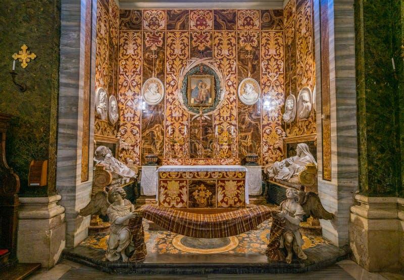 Spada Chapel by Francesco Borromini in the Church of San Girolamo della Carità in Rome, Italy. San Girolamo della Carità is a church in Rome, Italy royalty free stock images