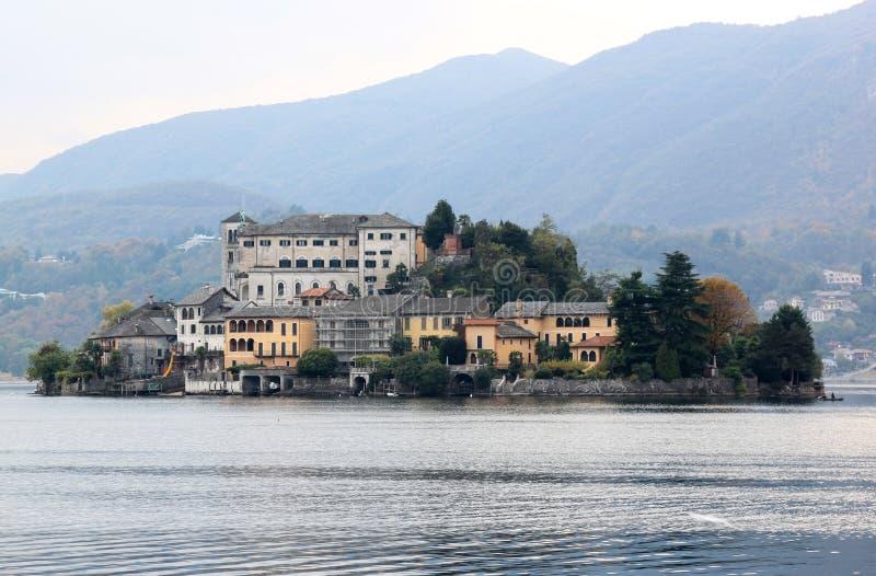 San Giulio Island in Italian Lake Orta royalty free stock images
